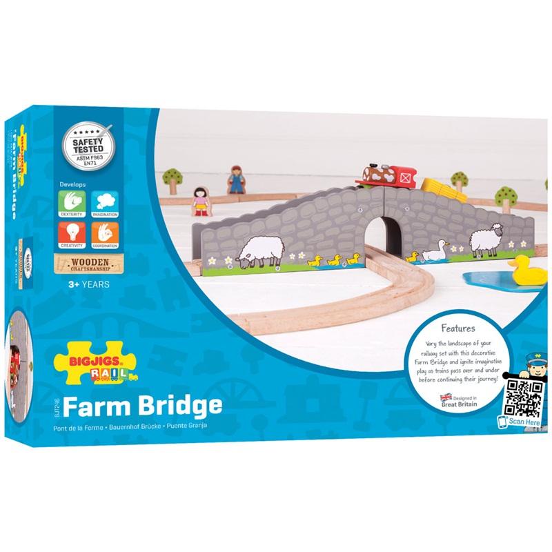 Bigjigs dřevěná vláčkodráha - Farma most s tunelem