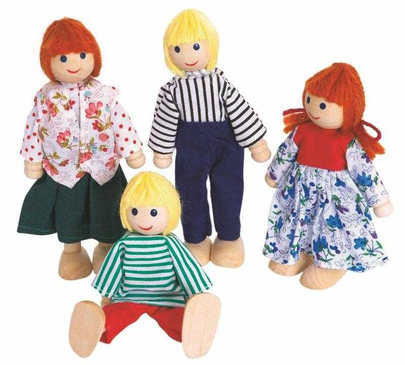 Dřevěné hračky Woody - Panenky do domečku, 4ks