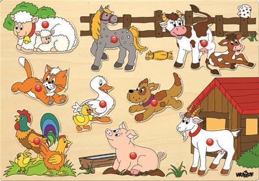Woody - Dřevěné vkládací puzzle - Zvířata u statku