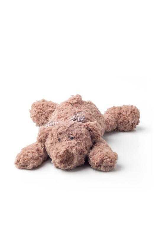 Plyšový medvěd Lumpin s mašlí, ležící