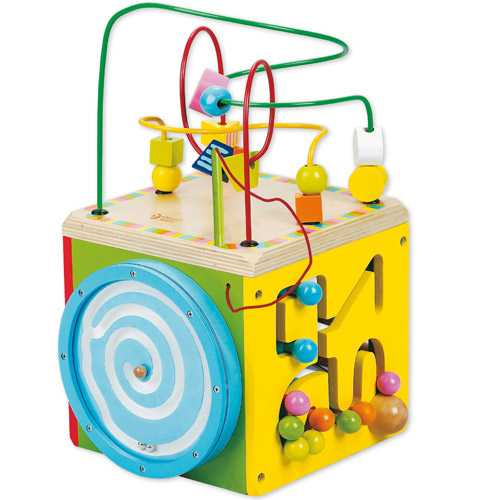 Motorické hračky - Dřevěná motorická kostka žlutá