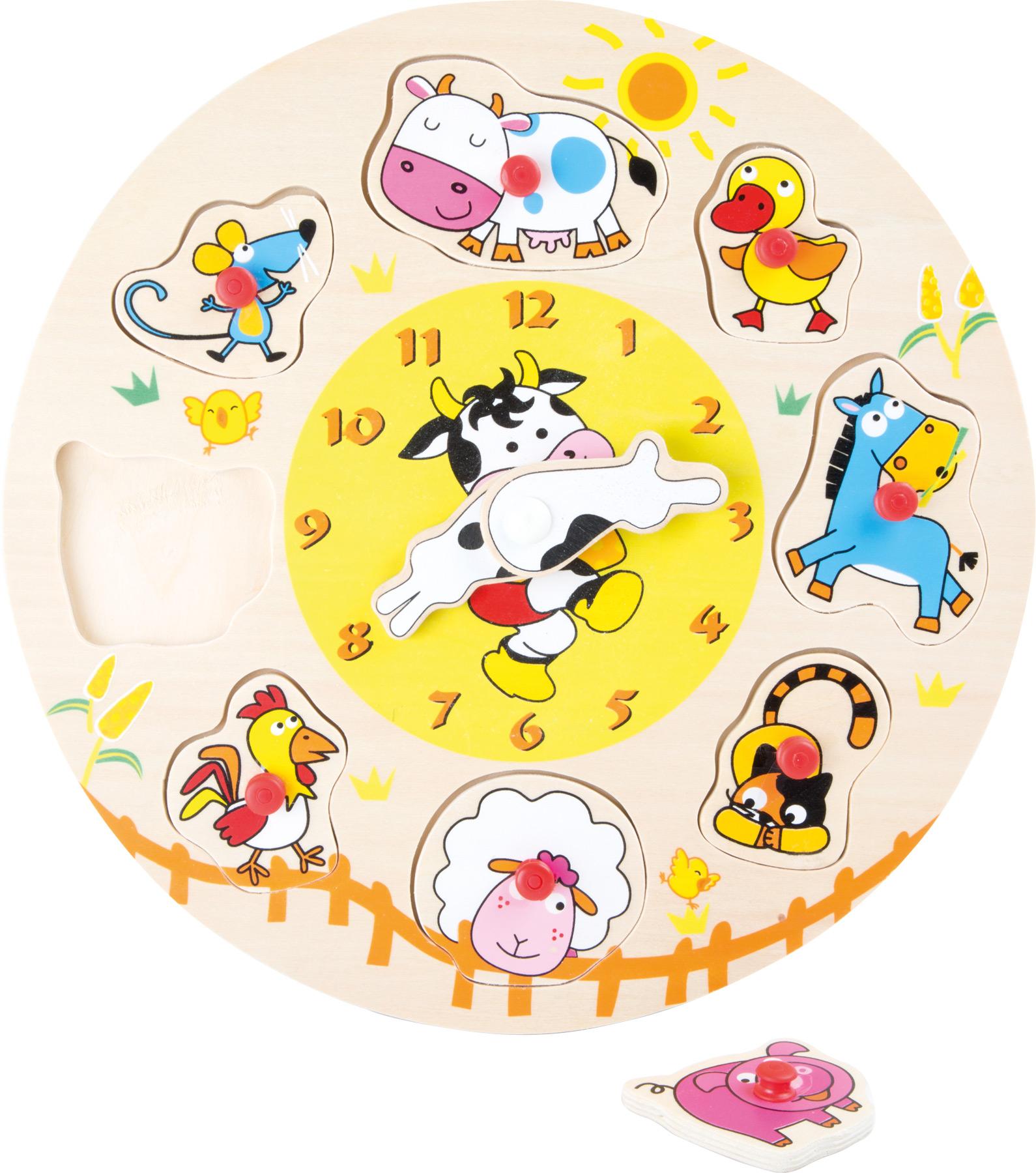 Small Foot Vkladacie puzzle Hodinky so zvieratkami