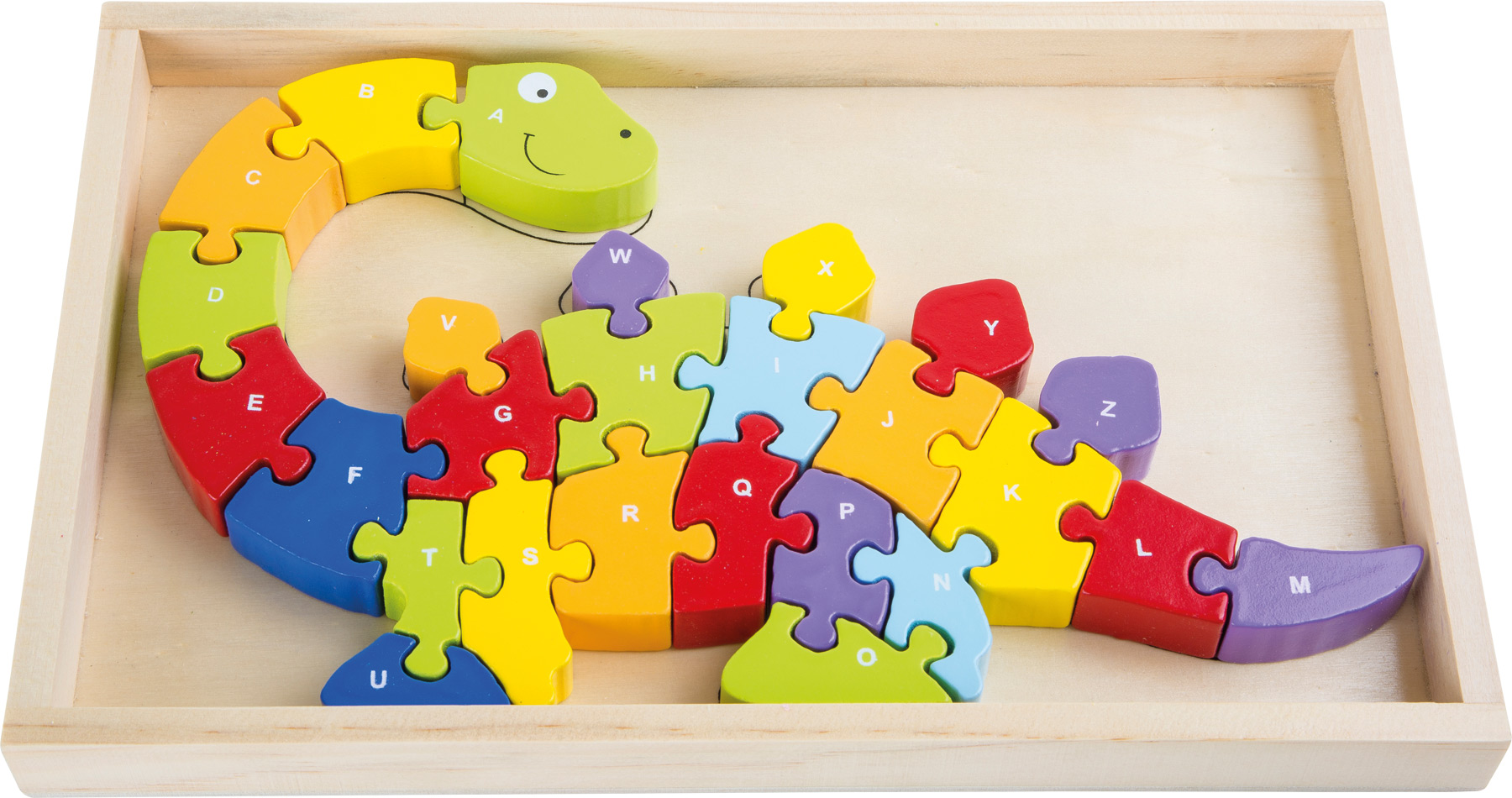 Small Foot Drevené puzzle ABC dinosaurus