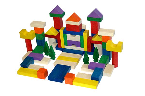 EkoToys Drevené kocky farebné 100 ks