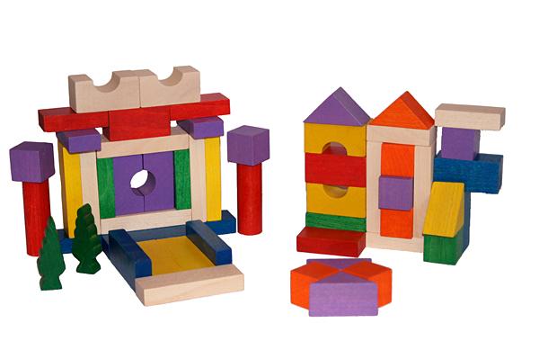 EkoToys Drevené kocky farebné 50 ks