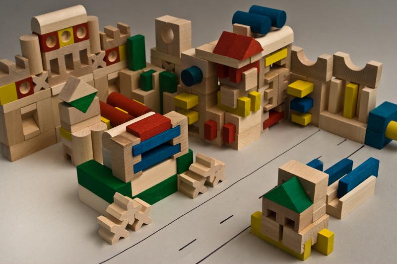 EkoToys Drevené kocky farebné 210 ks