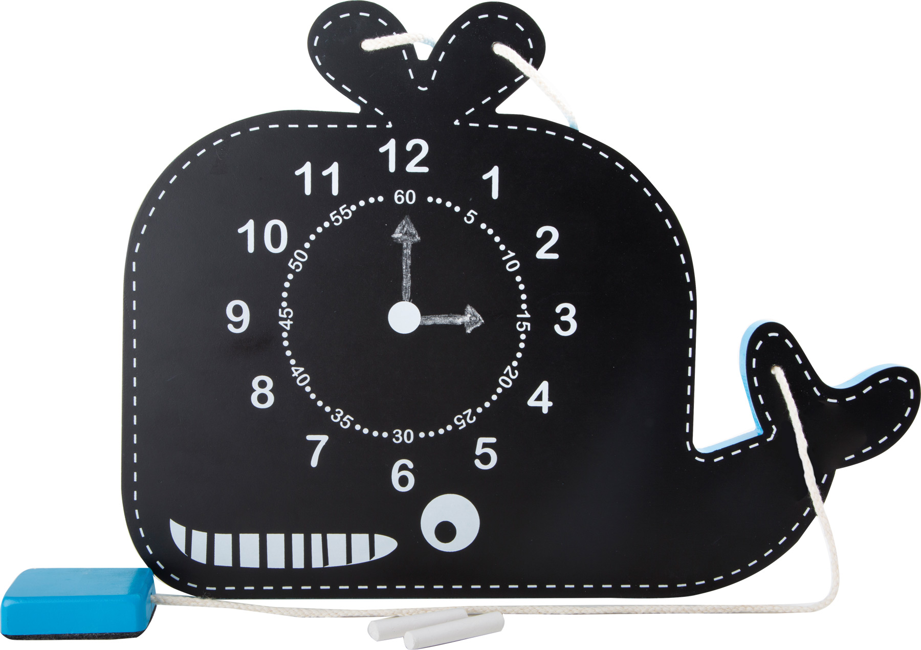 Small Foot Didaktická tabuľa s hodinami veľryba