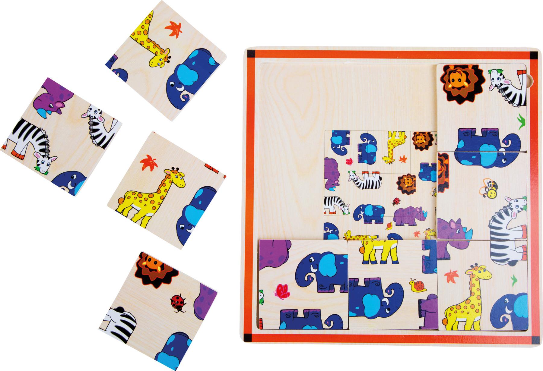 Small Foot Drevené puzzle Safari 9 dielov