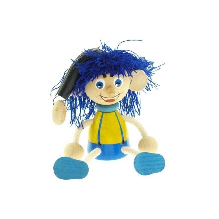 Kluk na pružině - modré vlasy