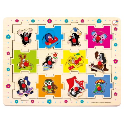 Bino - Dřevěné puzzle Krteček tvary, 24 dílků