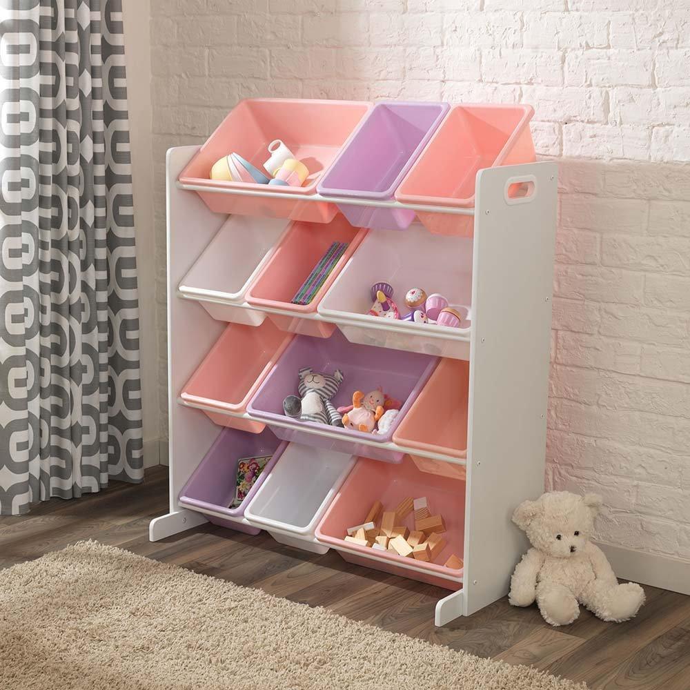 KidKraft Úložná police na hračky s 12 boxy růžový