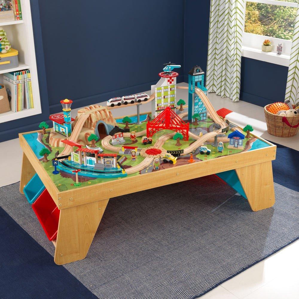 Kidkraft dřevěná vláčkodráha se stolem Aerocity