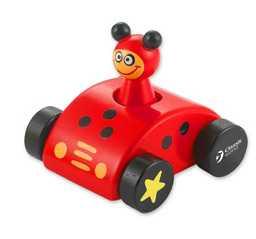 Dřevěné hračky - Dřevěné pískající auto s beruškou
