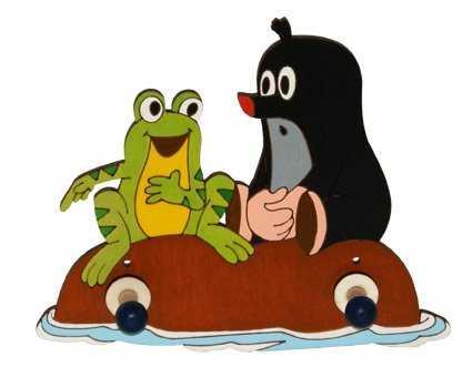 Dřevěný 2 věšáček - Krtek a žába