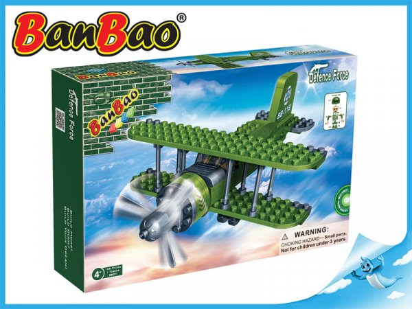 BanBao stavebnice - Defence Force - dvouplošník 132ks + 1 figurka ToBees