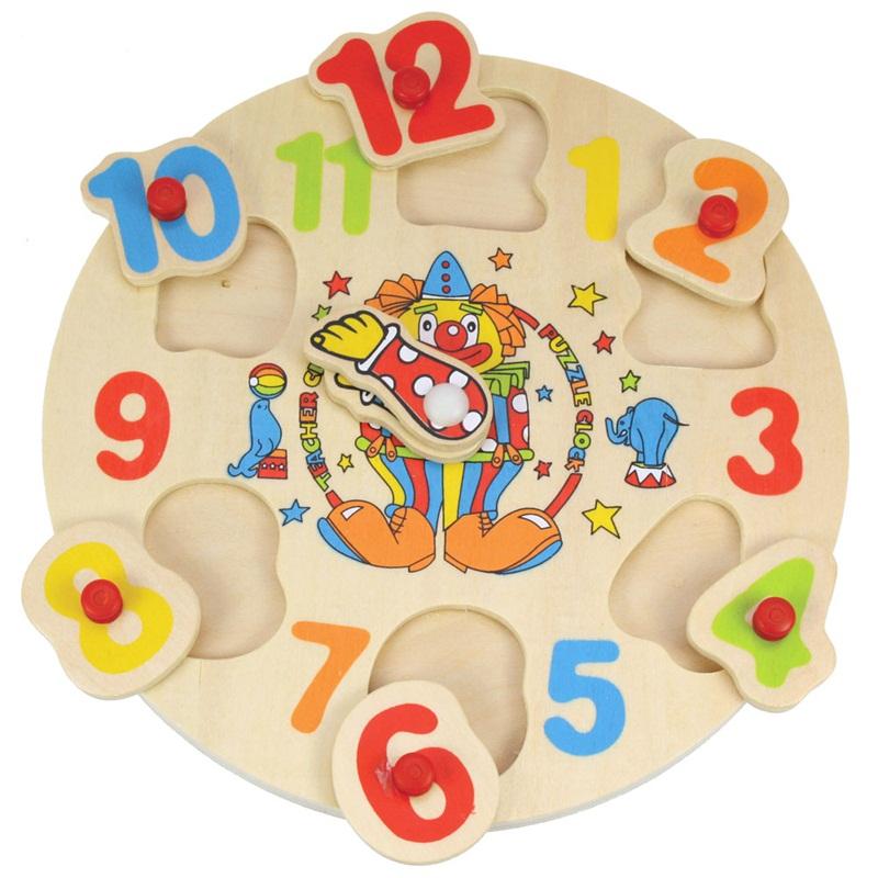 Dřevěné vkládací puzzle Bigjigs - Dřevěné hodiny s klaunem