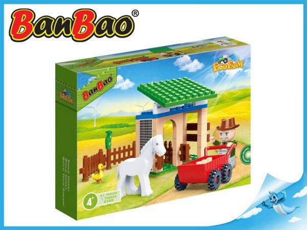 BanBao Stáj s koníkem 59ks + 1 figurka ToBees