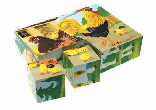 Dřevěné obrázkové kostky kubusy - Domácí zvířatka - 12 kostek
