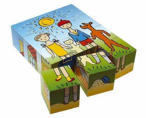 Dřevěné obrázkové kostky kubusy - Pejsek a kočička - 12 ks
