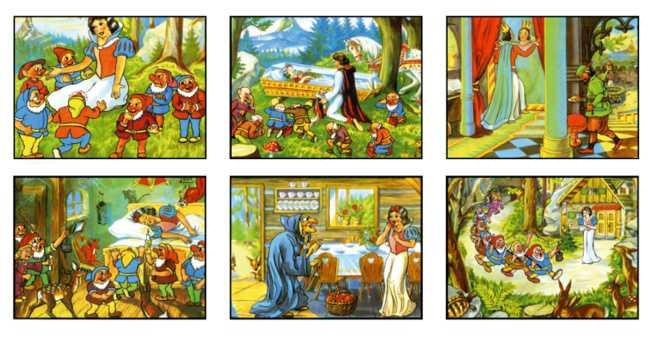 Dřevěné obrázkové kostky kubusy - Sněhurka 12 kostek