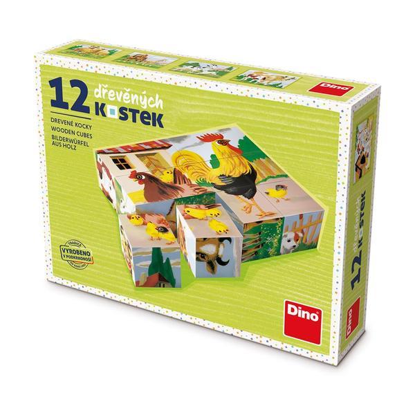 Dino Domáce zvieratá 12 drevené kocky