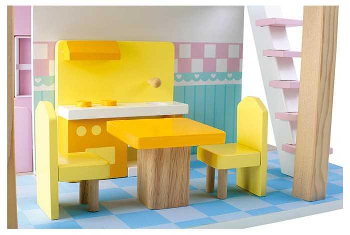 Small Foot Drevený domček pre bábiky modrá strecha
