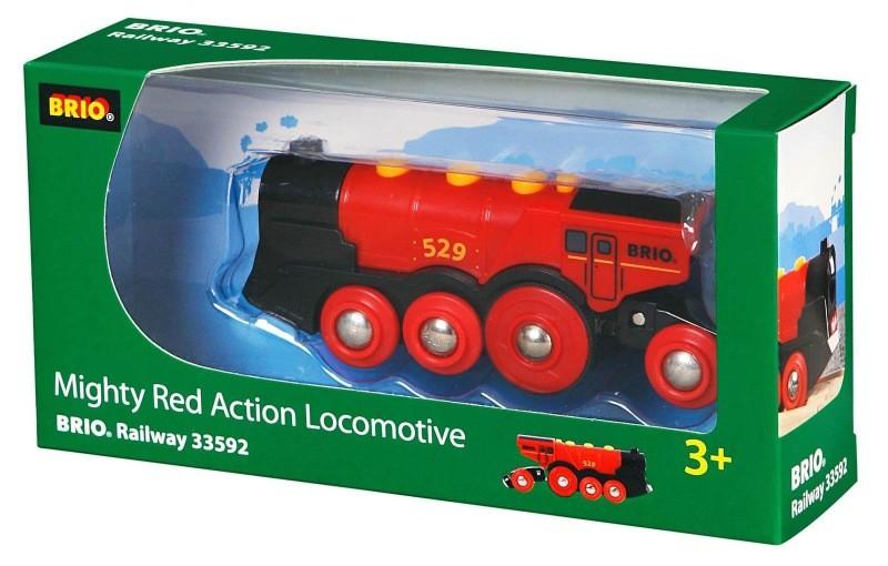 Mohutná elektrická červená lokomotiva se světly