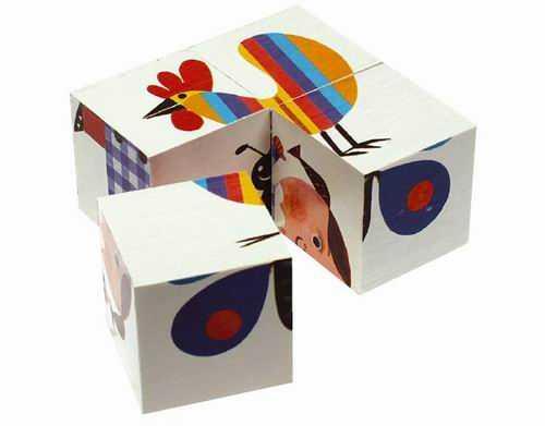 Dřevěné obrázkové kostky kubus  MINI - 4 kostky