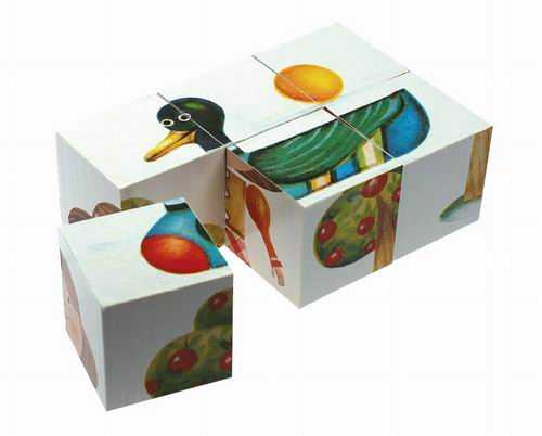Dřevěné obrázkové kostky KUBUS mini - 6 kostek