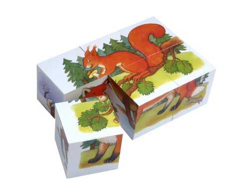 Dřevěné obrázkové kostky MINI - 6 kostek, Zvířátka v lese