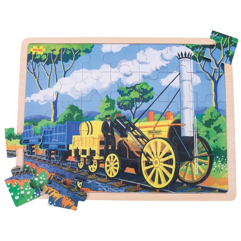 Bigjigs Toys dřevěné puzzle historický vlak Rocket 35 dílků