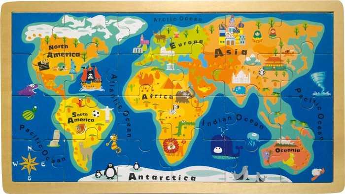 Small Foot Puzzle Jednoduchá mapa sveta