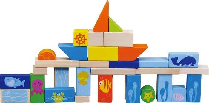 Small Foot Drevené stavebné kocky Podmorský svet 100ks