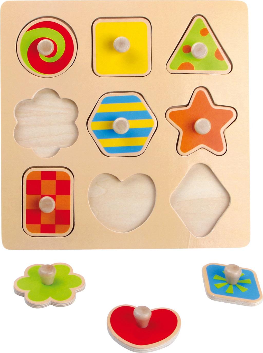 Small Foot Drevené puzzle farebné tvary