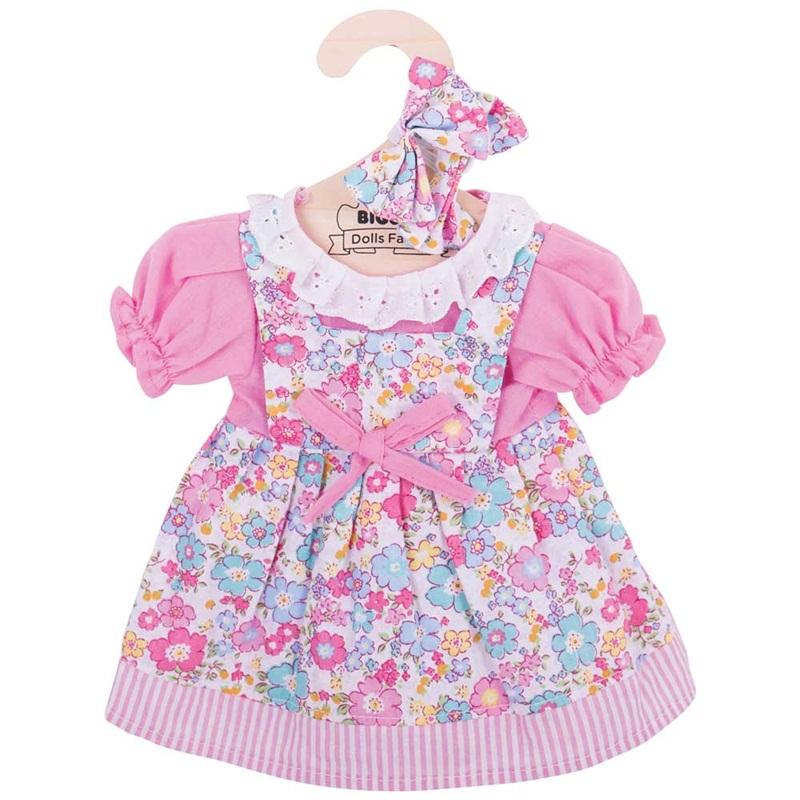 Bigjigs Toys růžové květinové šaty pro panenku 35 cm