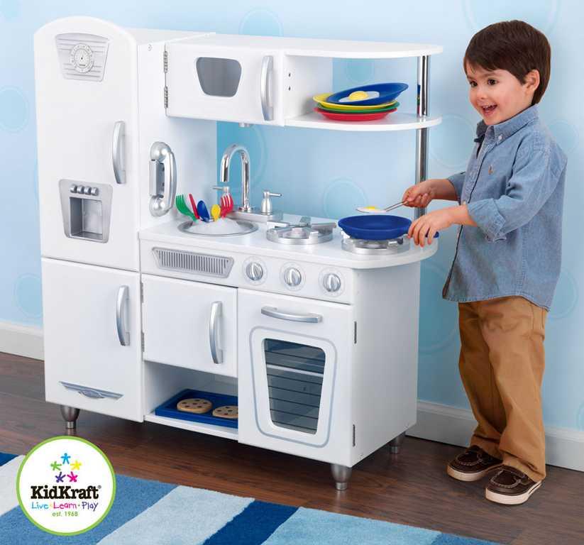 Dřevěné hračky - KidKraft Kuchyňka VINTAGE - bílá