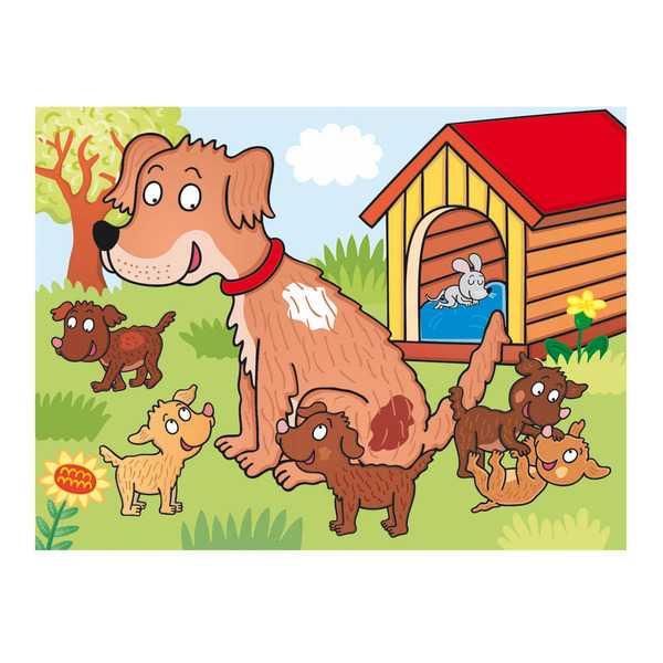 Dřevěné obrázkové kostky - Kubus 12 - Domácí zvířátka