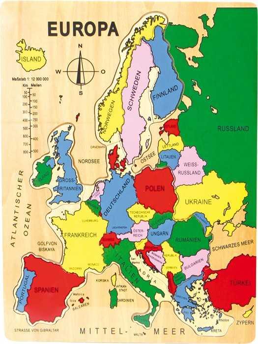Small Foot Vkladacie puzzle Európa (po nemecky)