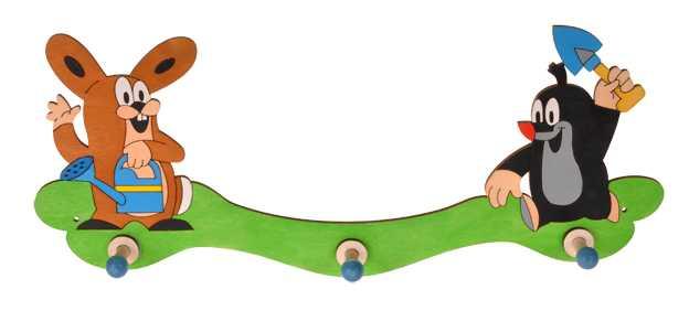 Dřevěný 3 věšáček - krtek a zajíc na zahradě