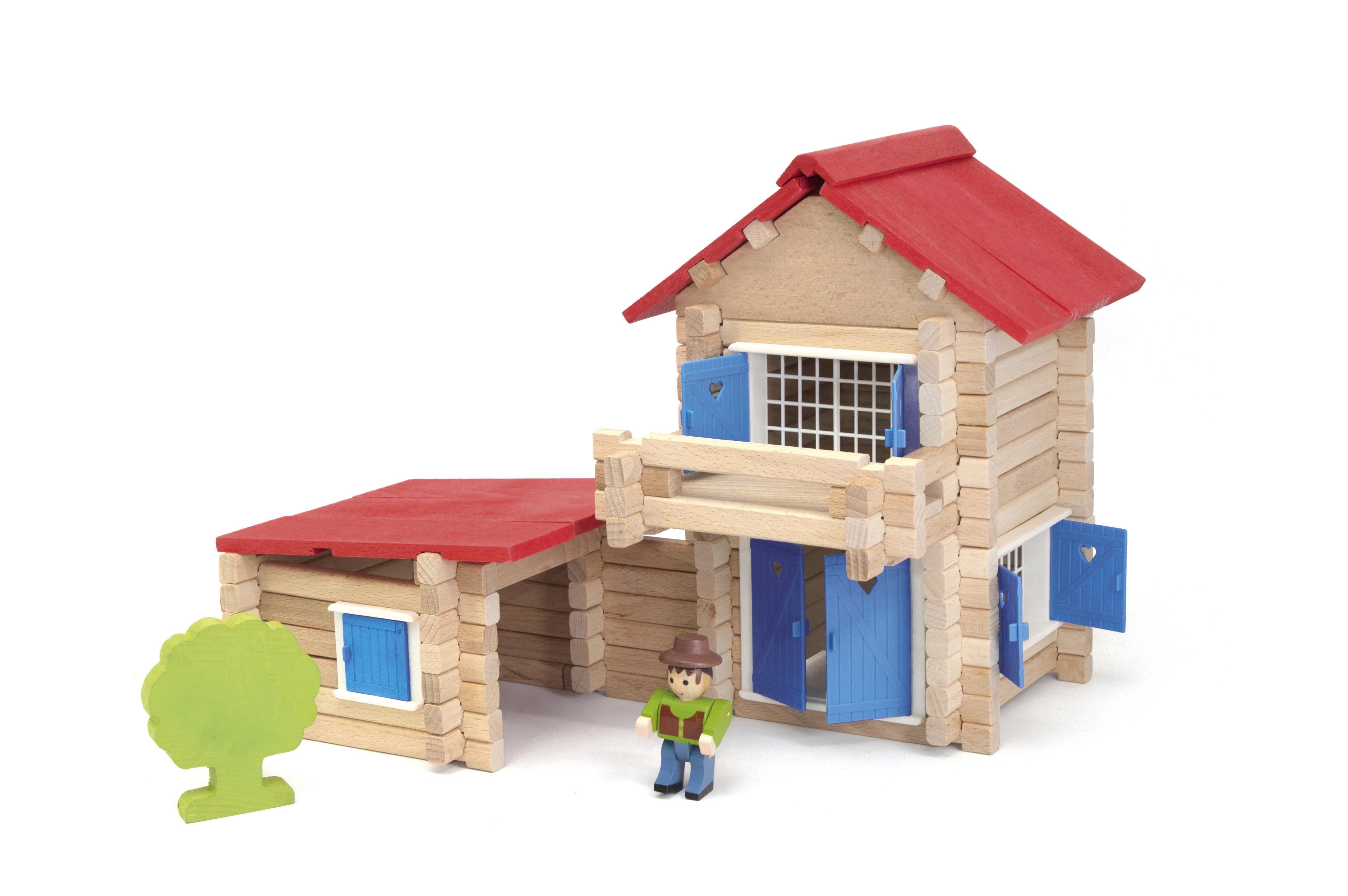 Jeujura Drevená stavebnica 140 dielov domček