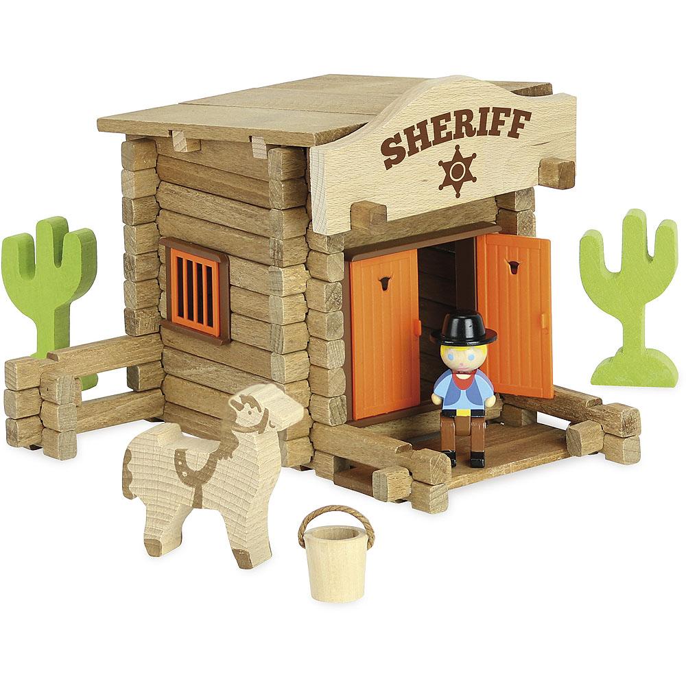 Jeujura Drevená stavebnica 80 dielov Sheriffská stanica