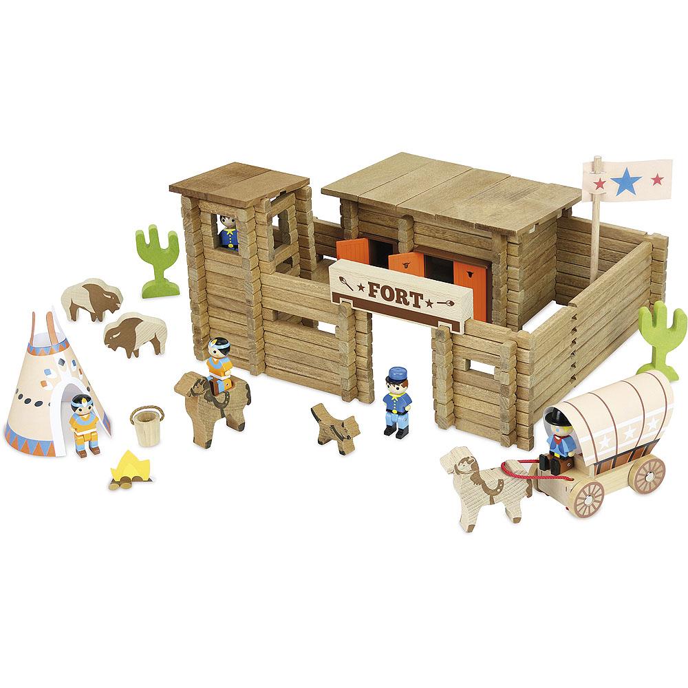 Jeujura Drevená stavebnica 200 dielov pevnosť a indiáni
