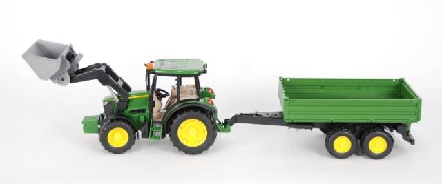 Bruder -  Traktor John Deere MS115 s přední lžící a valníkem