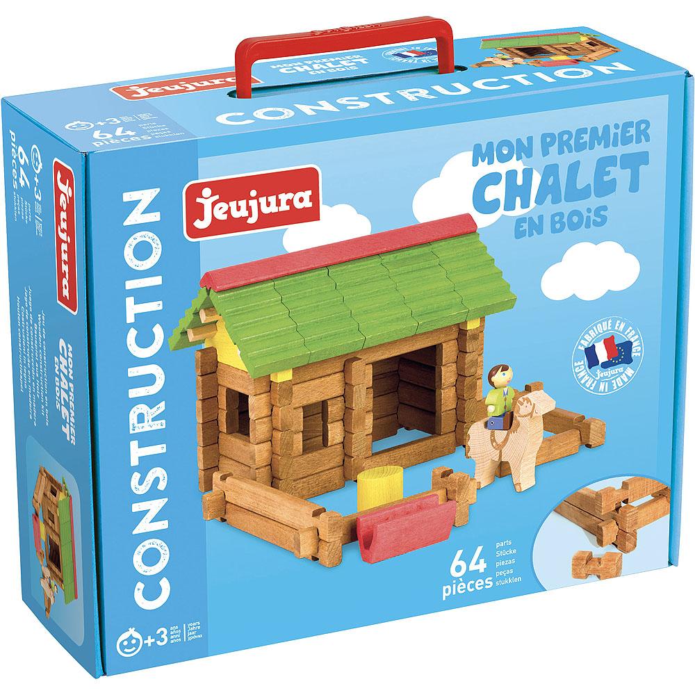 Jeujura Drevená stavebnica 64 dielov stajňa