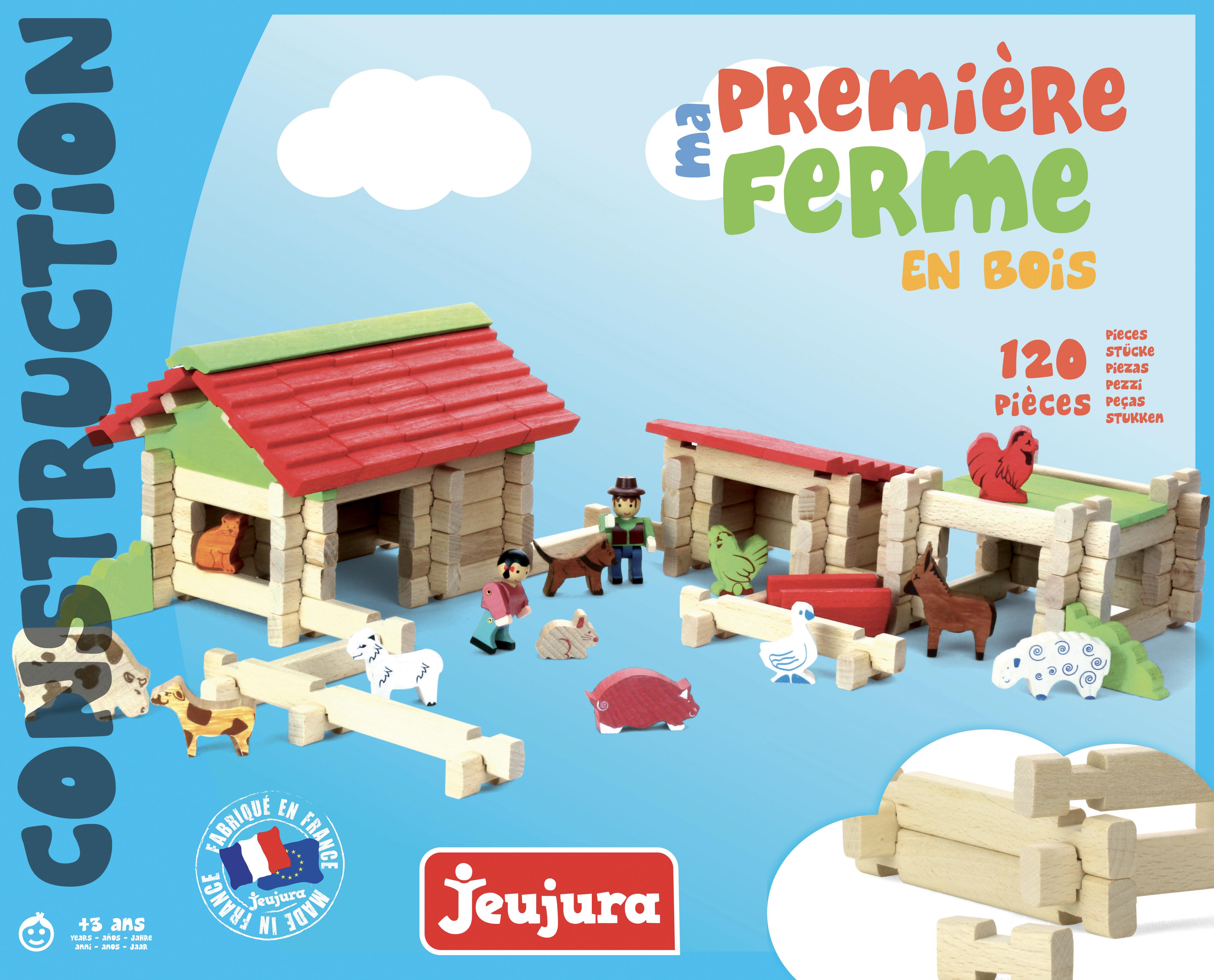 Jeujura Drevená stavebnica 120 dielov farma