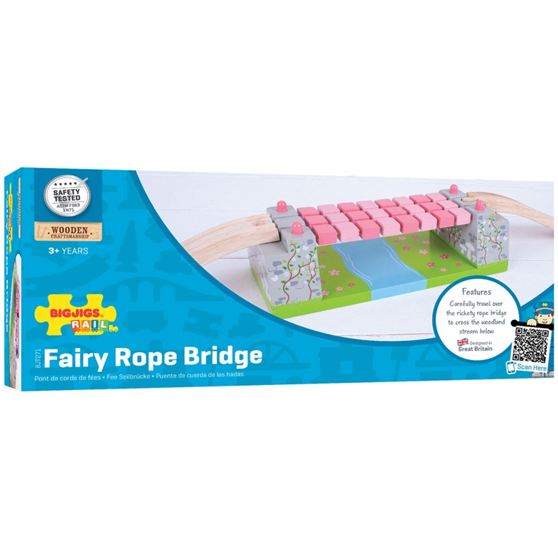 Bigjigs Rail dřevěná vláčkodráha - Růžový houpací most