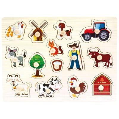 Bino - Drevené puzzle Farma 14 dielov