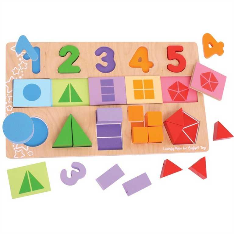 Bigjigs - Velká deska s vkládáním - Čísla, barvy, tvary