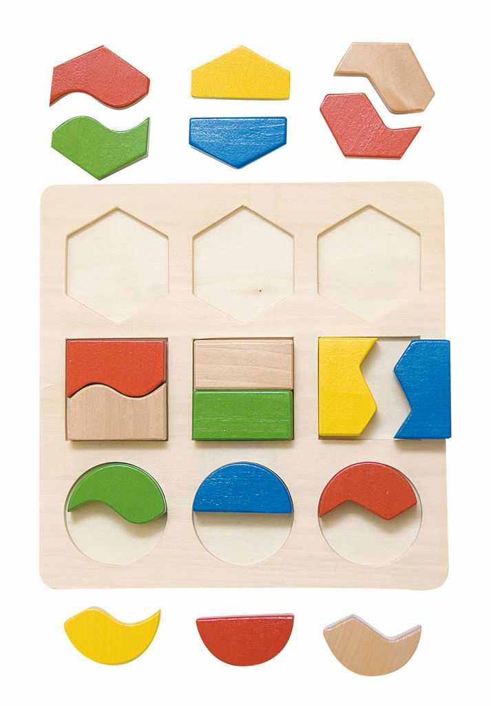 Dřevěné hračky Woody - Destička s geometrickými tvary