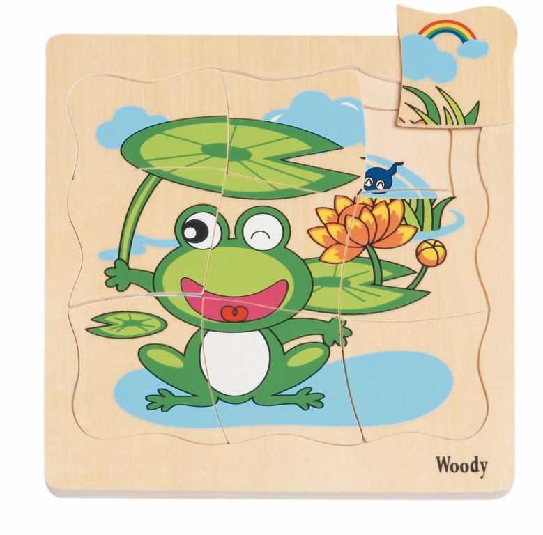 Dřevěné hračky - Puzzle na desce Vývoj žáby